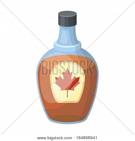 Canadian maple syrup in a bottle. Canada single icon in cartoon style rater, bitmap symbol stock illustration .