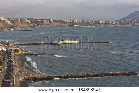 Lima Peru South America coastal view towards Miraflores district