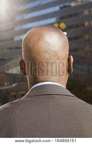 Close up of rear of African American businessman