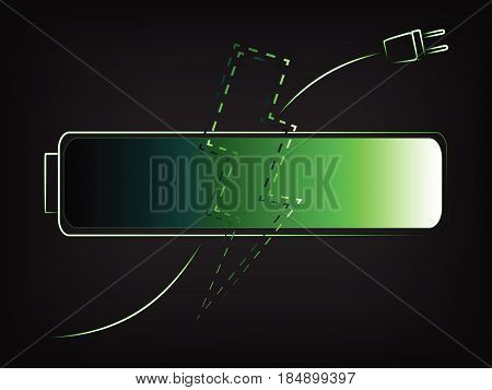Green Battery With Plug And Lightning Bolt Vector