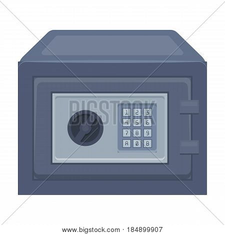 Safe under combination lock. Metal box is hard to open. Detective single icon in cartoon style illustration.