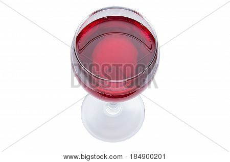 A Glass Of Red Wine Is A Top View. Alcoholic Drink On A White Background.