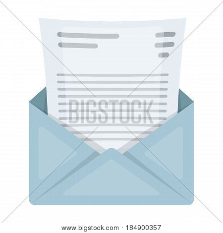 The envelope with the letter inside. A letter for the detective. Detective single icon in cartoon style illustration.