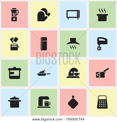 Set Of 16 Editable Meal Icons. Includes Symbols Such As Shredder, Cookware, Cup And More. Can Be Used For Web, Mobile, UI And Infographic Design.