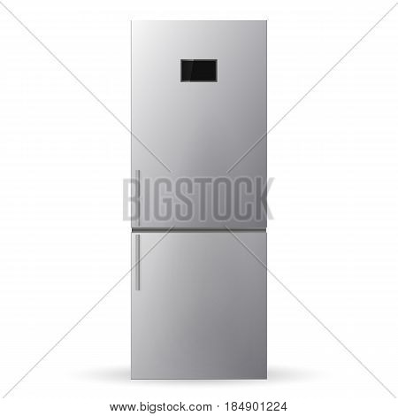 Stainless steel refrigerator. Fridge isolated on white background. Vector illustration.