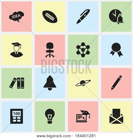 Set Of 16 Editable School Icons. Includes Symbols Such As Lamp, Molecule, Mind And More. Can Be Used For Web, Mobile, UI And Infographic Design.