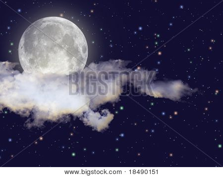 Night scene with full moon, clouds and stars