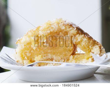 Close up of rustic custard dessert