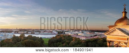 Evening Panorama Of St. Petersburg In The Clear Summer Evening