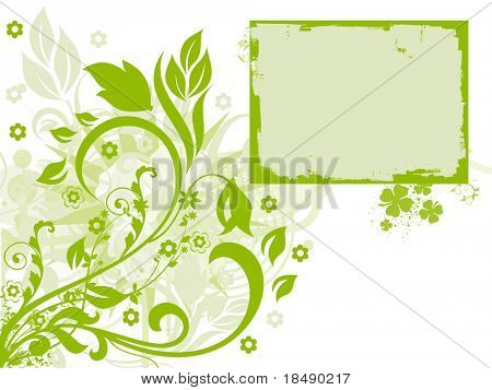 Abstract green flower card announcement poster