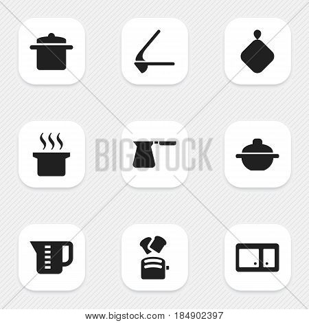 Set Of 9 Editable Food Icons. Includes Symbols Such As Soup Pot, Crusher, Slice Bread And More. Can Be Used For Web, Mobile, UI And Infographic Design.
