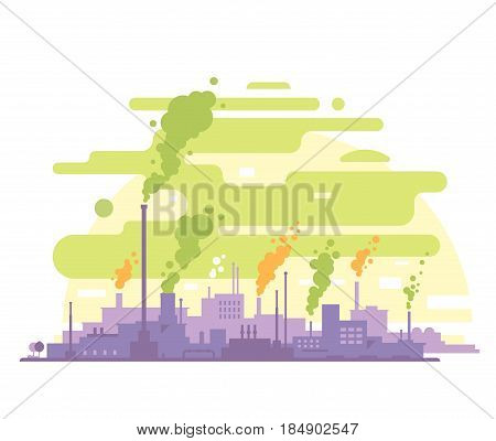 Industrial plant landscape with smoking pipes, factory buildings silhouette, environmental pollution, smog and fog in sky, ecology concept, flat style isolated