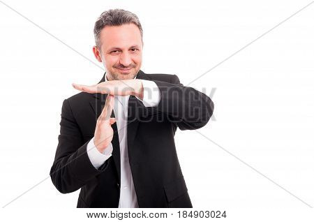 Handsome Businessman Showing Time Out