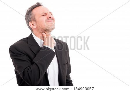 Young Man With Throat Pain Or Tonsillitis