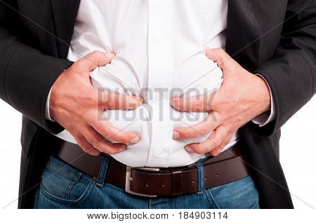 Man Having Indigestion After A Business Lunch