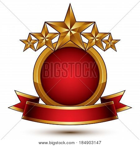 Vector glamorous round element with red filling 3d polished five golden stars branded symbol with festive ribbon. Dimensional decorative stars elegant shaped blazon. Eps8.