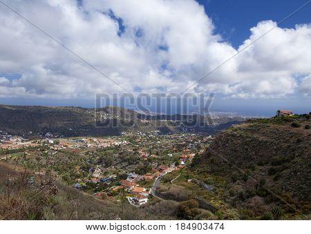 Inlad Gran Canaria April view into densely populated valley Barranco Guiniguada