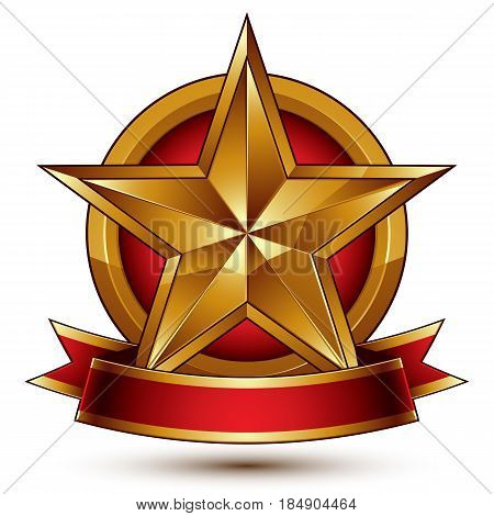 Branded golden symbol with stylized pentagonal glossy star and red decorative curvy ribbon best for use in web and graphic design. Refined vector icon placed in a circle. Sophisticated gold ring isolated on white background.