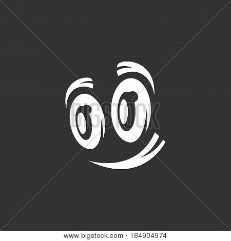 Cartoon eyes vector logo isolated on a black background. Icon silhouette design template. Simple symbol concept in flat style. Abstract sign pictogram for web mobile and infographics
