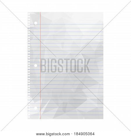 Wrinkled Note paper. Notebook paper with lines isolated on background. Vector illustration.