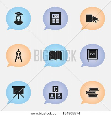 Set Of 9 Editable University Icons. Includes Symbols Such As Calculator, Alphabet Cube, Blackboard And More. Can Be Used For Web, Mobile, UI And Infographic Design.
