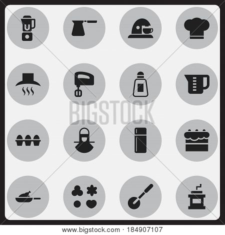 Set Of 16 Editable Cooking Icons. Includes Symbols Such As Grill, Coffee Pot, Knife Roller And More. Can Be Used For Web, Mobile, UI And Infographic Design.
