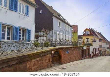 Edenkoben Typical Residential Architecture On Suedliche Weinstraße Germany