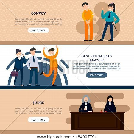 People in court horizontal banners with defendant police officer lawyers and judges vector illustration