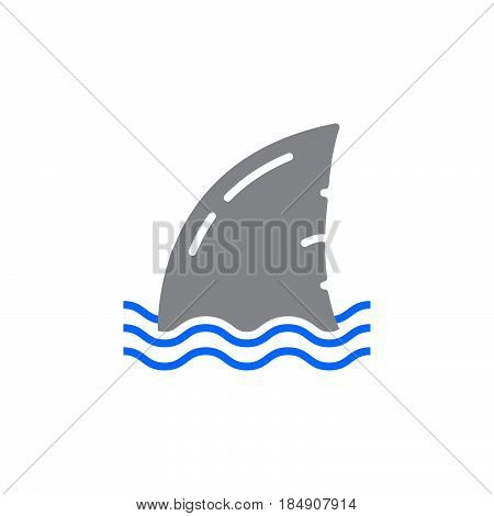 Shark fin icon vector filled flat sign solid colorful pictogram isolated on white. Symbol logo illustration