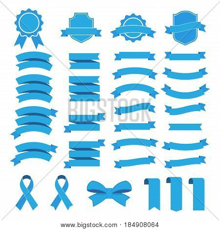 Ribbon vector icon set on white background. Collection banner isolated shapes illustration of gift and accessory. Banner Ribbon vector illustration.