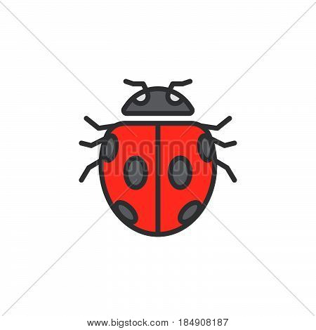 Insect ladybird beetle line icon filled outline vector sign linear colorful pictogram isolated on white. Symbol logo illustration