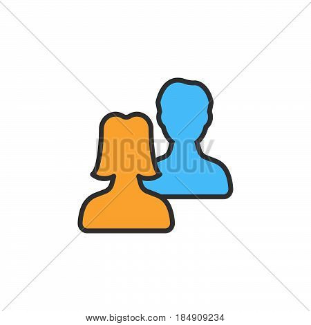 Users friends line icon filled outline vector sign linear colorful pictogram isolated on white. Symbol logo illustration