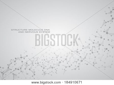 Structure molecule dna and neurons connected lines with dots genetic and chemical compounds medical or scientific background for banner or flyer