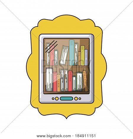 Book and tablet icon. Ebook download elearning reading and electronic theme. Isolated design. Vector illustration
