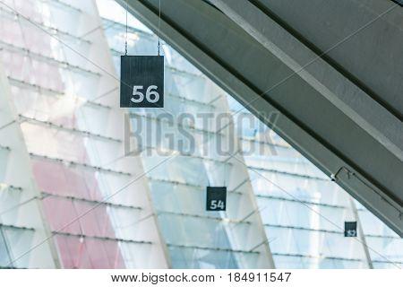 close up view of numeration of stadium seats on stadium