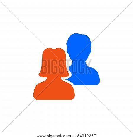 Users friends icon vector filled flat sign solid colorful pictogram isolated on white. Symbol logo illustration