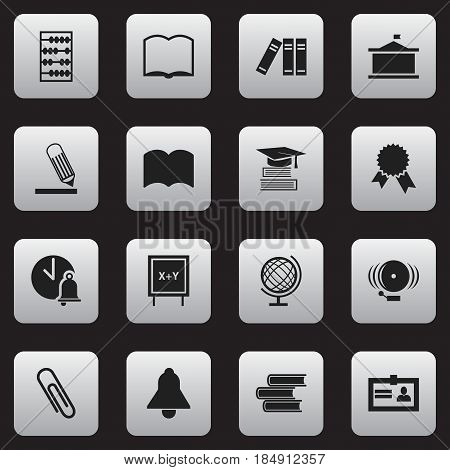 Set Of 16 Editable Science Icons. Includes Symbols Such As Writing, Certification, Library And More. Can Be Used For Web, Mobile, UI And Infographic Design.