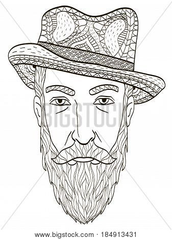 Head of an elderly man with a beard coloring book for adults vector illustration. Anti-stress coloring for adult. Zentangle style. Black and white lines. Lace pattern