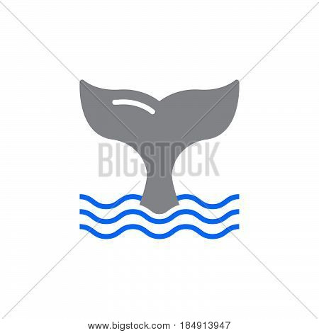 Whale tail icon vector filled flat sign solid colorful pictogram isolated on white. Symbol logo illustration