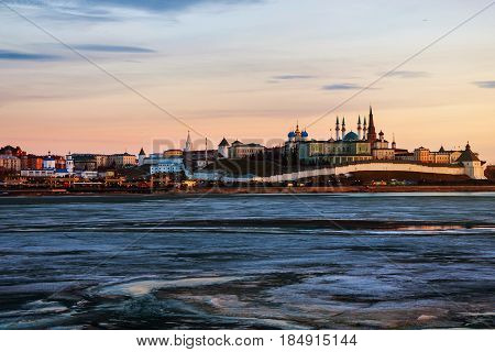 Kazan, Russia. Aerial view of Kremlin of Kazan, Russia at sunset in winter. Historical buildings with frozen river
