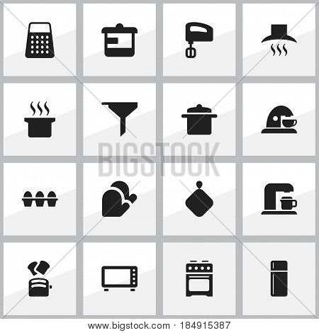Set Of 16 Editable Meal Icons. Includes Symbols Such As Egg Carton, Slice Bread, Kitchen Hood And More. Can Be Used For Web, Mobile, UI And Infographic Design.