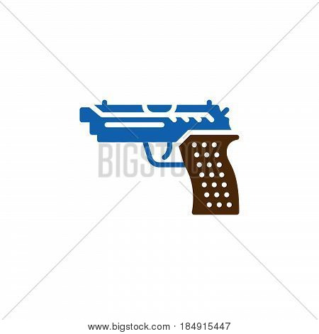 Gun pistol icon vector filled flat sign solid colorful pictogram isolated on white. Symbol logo illustration