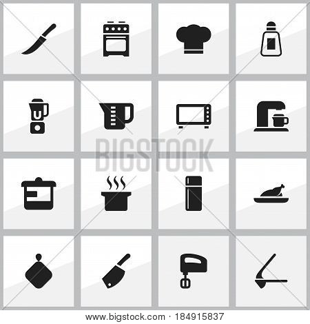 Set Of 16 Editable Meal Icons. Includes Symbols Such As Fried Chicken, Backsword, Sword And More. Can Be Used For Web, Mobile, UI And Infographic Design.