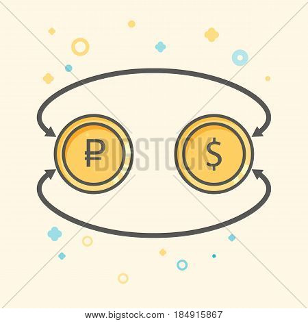 Simple Business and  Finance Vector Flat Icon. Currency exchange between dollar and rubles. Line art style icon.