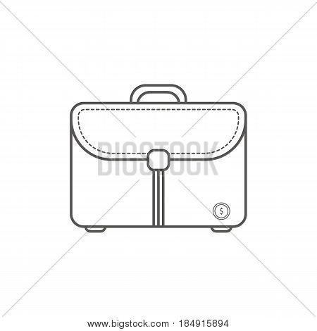 Simple Businessand  Finance Vector FlatIcon. Classic messanger bag as symbol of a bussiness man. Line art style icon.