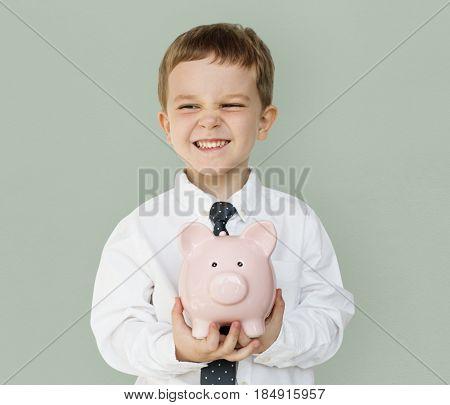 Kid Studio Shoot Gesture Piggy bank Holding