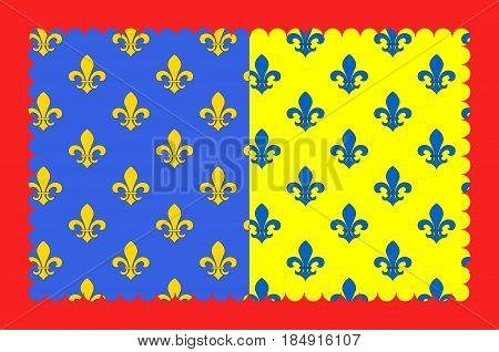 Flag of Saint-Flour is a commune in the Cantal department in the Auvergne region in south-central France. Vector illustration