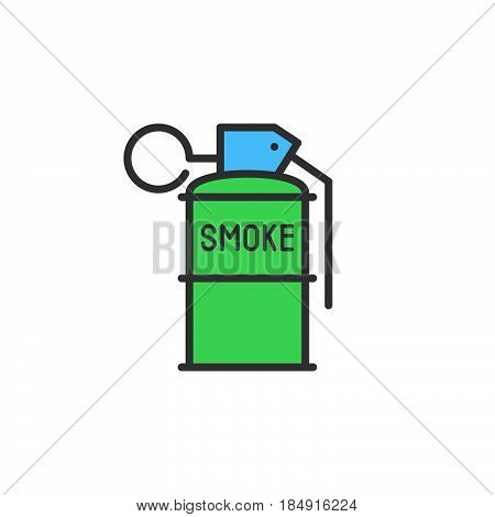 Smoke grenade line icon filled outline vector sign linear colorful pictogram isolated on white. Symbol logo illustration