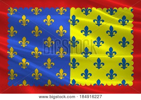 Flag of Saint-Flour is a commune in the Cantal department in the Auvergne region in south-central France. 3D illustration