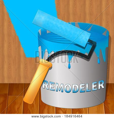 Home Remodeler Shows House Remodeling 3D Illustration